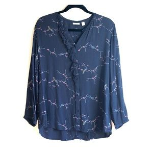 Cute blouse with  Japanese print bird and branches